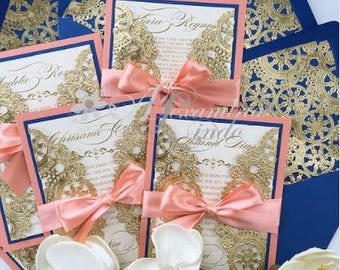 Royal Blue and Coral Invitation