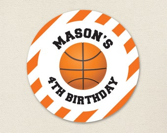 Basketball Party - Custom Stickers - Sheet of 12 or 24