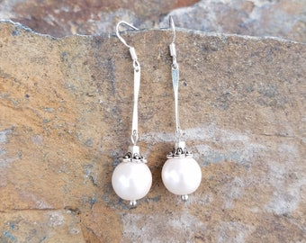 Off White Pearl Drop Earrings, Long Off White Sterling Silver Earrings, Long Pearl Silver Earrings, Pearl Long Sterling Silver Earrings