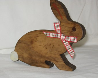 "Handcrafted Wooden Bunny Cutout Lying Down - 6 3/4"" Wide by 5 1/2"" High - Stained with Minwax Special Walnut"