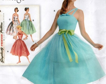 Simplicity 1194 RETRO REISSUE 1950s Prom Party Dress Sizes 6, 8, 10, 12, 14 English & Spanish Instructions