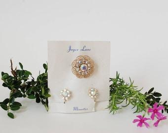 Joyce Lane - New Vintage Brooch & Earrings - Minuettes - Iridescent - Screw Back - New Old Stock