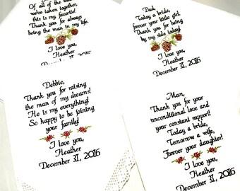 Wedding Handkerchief Mom dad inlaws Wedding Day Gifts, Embroidered Wedding Handkerchiefs, Mom Gift, Dad Gift, Set of 4 By Canyon Embroidery