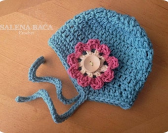 PDF Crohcet PATTERN - Amelia Ear Flap Hat with Ties - Double Crochet Version (Newborn, 3-6, 6-12, 12-24 and 2-5)