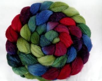 3.5oz merino silk roving, hand dyed roving, wool roving, felting wool, spinning fiber, roving wool, wool silk roving, purple, teal, red,100g