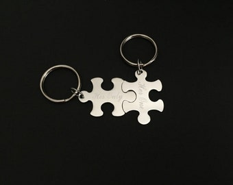 Personalized Stainless Steel Puzzle Key Chains. 2 Puzzle Key Chain Set.Engraved Key Ring. Gift for Couples. Newlyweds. Best Friends. Sisters