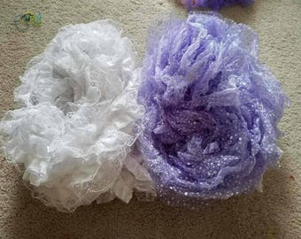 Lot of PURPLE (32 yd) & WHITE (38 yd) lace organza ribbons
