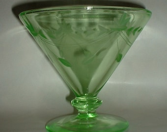 Vintage Green Depression Glass Footed Candy Dish Compote