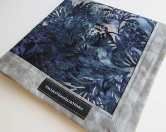 EDC Hank Blue Gray Purple Batik Fabric Handmade Hank Everyday Carry Pocket Dump Hank Mens Handkerchief Gift for Him Gift for Her