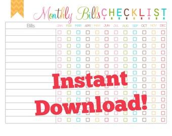 Monthly Bills Checklist Printable