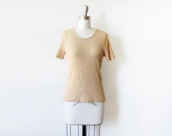 90s floral lace top, vintage 1990s floral lace blouse, beige flower lace shirt, small