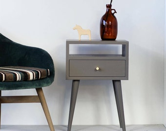Gray Solid Oak Nightstand | Bedside Table | Bedroom Furniture | Gray  Furniture | Modern Furniture |Mid Century Bedside NO 03 EP