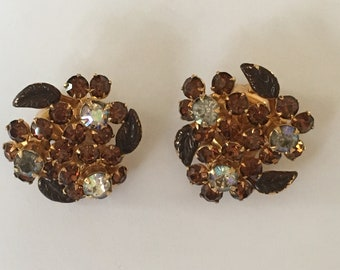 Vintage Weiss NY Topaz Amber, Aurora Borealis Crystal Clip-On Earrings with Metal Leaves