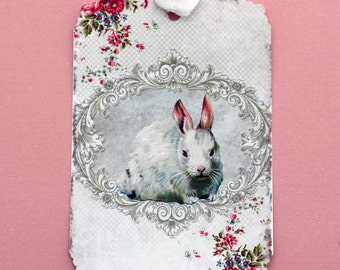 White Rabbit Gift Tags Shabby French Chic
