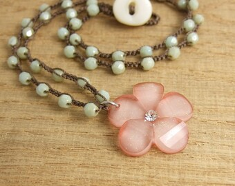 Crocheted Necklace with a Brown Cord, Opaque Light Turquoise Colored Czech Glass Beads, and a Peachy, Pink Flower Pendant SN-396