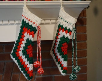 2 Vintage Granny Square Stockings/ Retro Christmas/ Kitschy Christmas/ Traditional Christmas