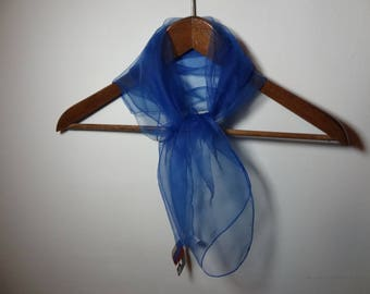 Vintage Women's Square Blue Sheer Chiffon Hair or Neck Scarf - New With Tags
