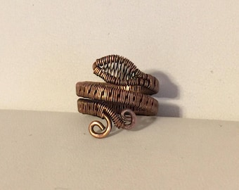 Copper wire wrapped ring size 7 1/2