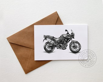 Triumph Tiger Motorcycle Card Bike Card Triumph Motorcycle Gift Idea Motorcycle Art Print Triumph Motorcycle British Motorcycle