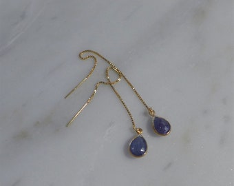 Blue Iolite and Gold Pendant Threader Earrings