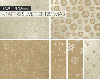 Silver foil kraft paper digital Christmas glitter pattern background printable invitation wrap papers xmas holiday winter elegant