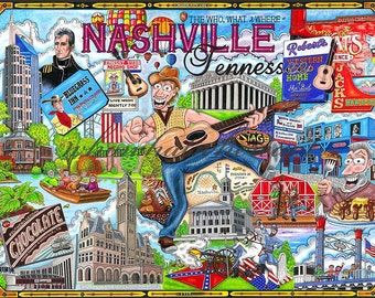 The Who, What and Where of Nashville, Tennessee pack of 10 postcards signed by the artist