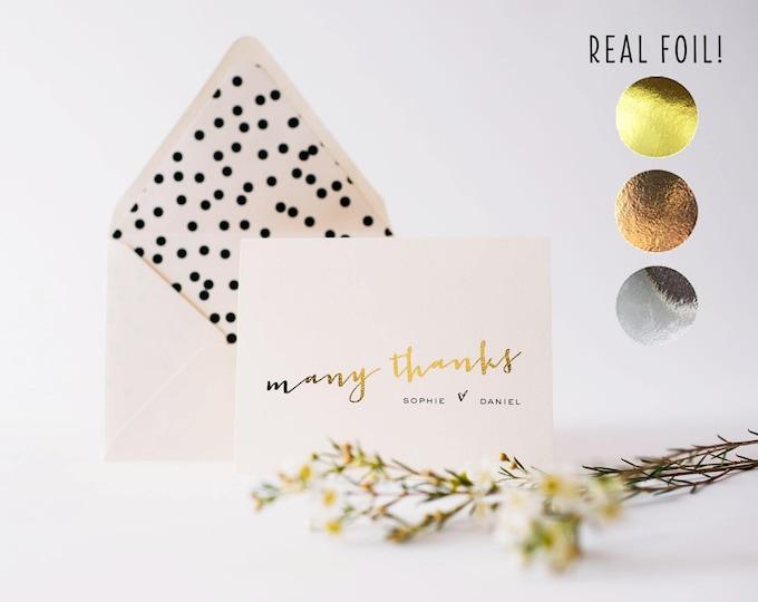 personalized foil pressed thank you cards / wedding / bridal shower thank you cards / gold foil / rose gold foil / silver foil (sets of 10)