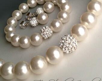 Crystal Pave and Pearl Bridal Bracelet - Disco Ball Rhinestone Bridesmaid Bracelet