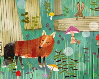 Magical Fox Forest 11 x 14  Archival Print - art poster - wall decor - children's wall art - nursery poster