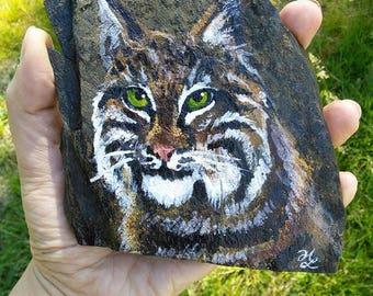 Bobcat Slate Rock Painting (small size)