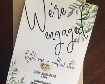 Engagement Party Invite with envelope Handmade Personalised Wooden Heart Rustic