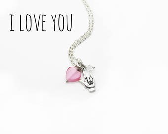 Universal Sign Language 'I Love You' Necklace--For Her--Love--Trending--Pink--Teen--Statement Jewelry--Valentine's Day--Anniversary--Wedding