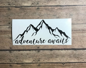 adventure awaits / decal / adventure / awaits / hiking / mountains / trail / camping / hiker / outdoors / outdoorsy / active