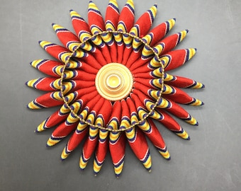 Red Blue Yellow and White Folded Cocarde Cockade Applique Millinery Military Reenactment