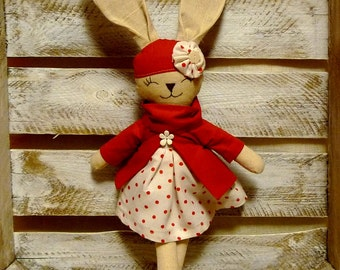stuffed cotton bunny handmade rabbit cuddle toy for child christmas gift