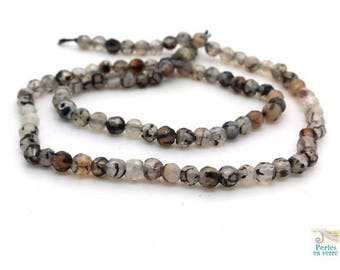 90 beads agate gray smoke, faceted 4mm, (pg187) wrap bracelet