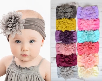 "Nylon Headband, One size fits all baby headbands, wide nylon headbands, baby headbands, 4"" FLOWER Nylon Headwrap"