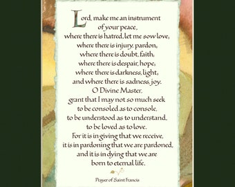 "St Francis Prayer 11x14"" calligraphy print, Lord make me an instrument, spiritual quote, inspirational print, spiritual wall art"