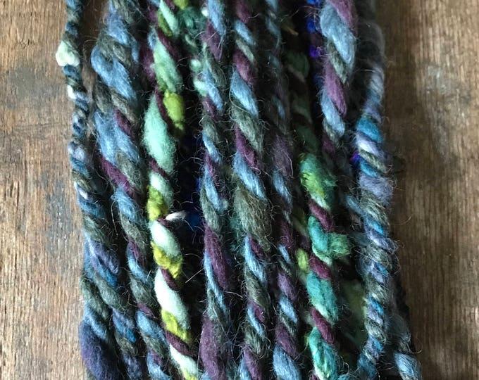 Cherub Rock, jumbo wild art yarn, 26 yards, blue purple green,  three ply textured art yarn, handspun, bulky wild yarn, weaving yarn