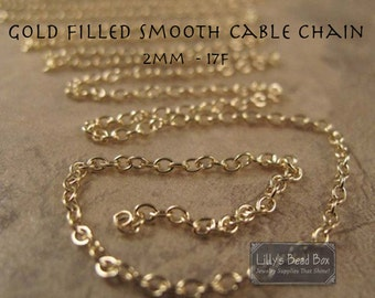 Gold Filled Cable Chain - 2 Feet - 2mm Jewelry Chain Supplies - Thin, Durable Gold Chain for Making Necklaces and Bracelets (17f)