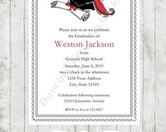 Graduation Announcement Invitation (Any Color) - Printed Graduation Invitation by Dancing Frog Invitations