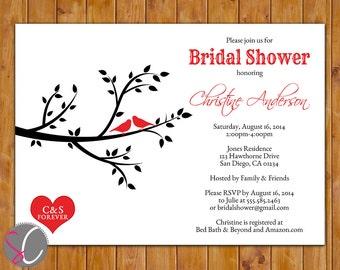 Birds Bridal Shower Invite Love Birds on Branch Red Black Choose Colors Shower Invite Heart with Initials Printable 5x7 Digital JPG (315)