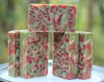 Santa's Spruce Swirl - Homemade Bar Soap - Handmade Soap Cold Process LAST BARS