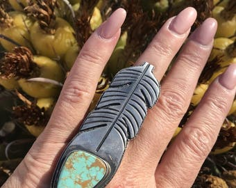 Tommy Jackson Pilot Mountain Turquoise & Sterling Silver Ring Size 9.5 Signed