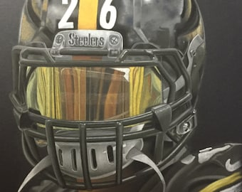 Pittsburgh Steelers Art Print 8x10 LeVeon Bell Artwork Home Decor by Artist Tempy Moore