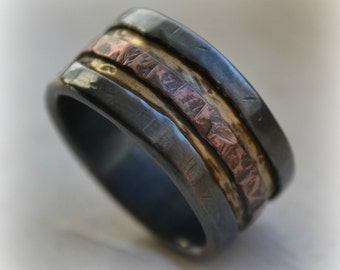 mens wedding band - rustic fine silver brass and copper - handmade artisan designed wide band ring - manly ring - industrial ring customized