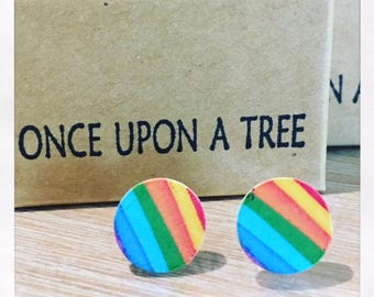 Laser Cut Wooden Rainbow Earrings