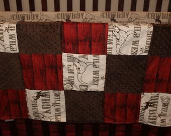 Cowboy Baby Blanket - Cowboy, Red Barnwood, and Brown Minky Patchwork Blanket