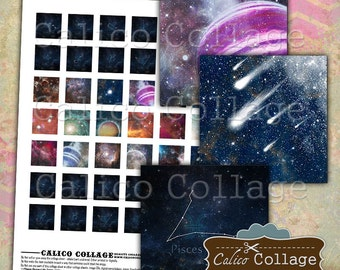 Nebula Digital Collage Sheet, 1x1 Inch Square, Zodiac Collage Sheet, Galaxy Images, Images for Pendants, Scrapbooking, Printables