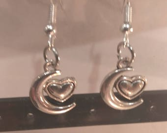 Moon and Heart Silver Earrings